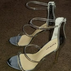 Silver heels with transparent straps